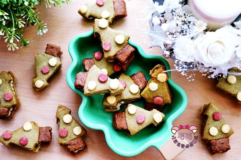 聖誕甜點食譜|影音》繽紛可愛聖誕樹抹茶夾餡杏仁餅乾♥派對甜點冰箱解饞常備餅乾