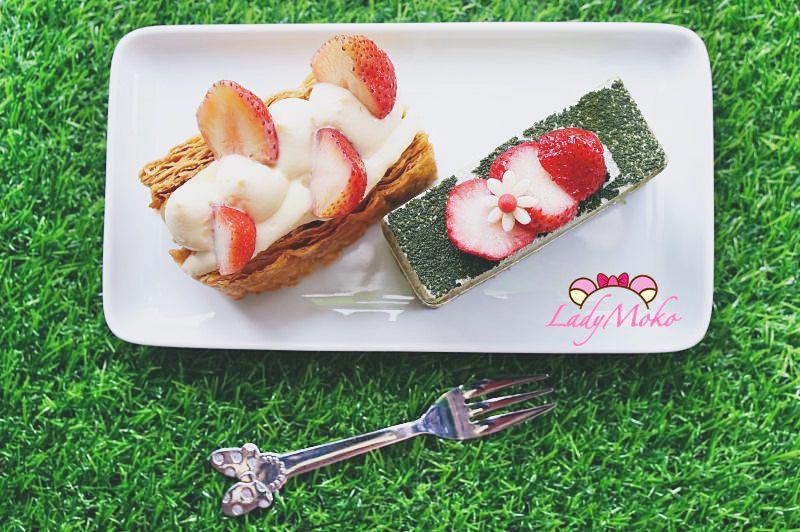 天母職業級法式甜點》甜典16號,草莓千層派與抹茶中發白,台北士林日法甜點