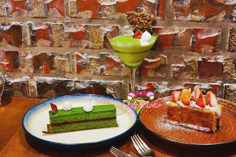 科技大樓站法式甜點》雷斯理,超抹茶的雙抹茶提拉米蘇,柳綠與現做草莓千層♥
