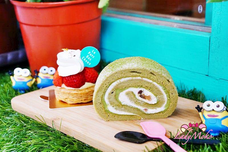 小巨蛋南京復興甜點》Le parc des choux高麗菜公園, Q彈好吃的抹茶栗子蛋糕捲