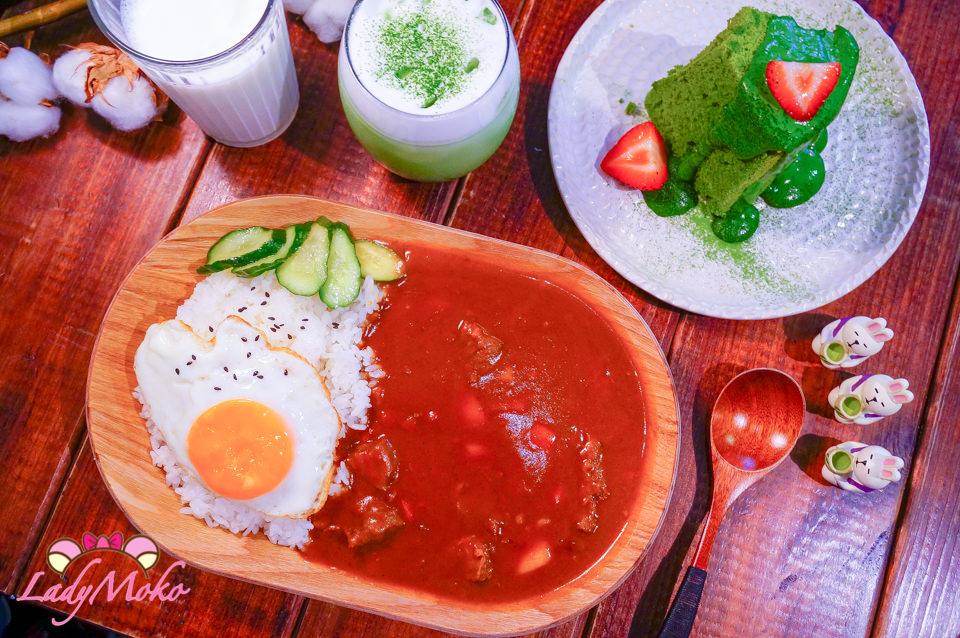 行天宮美食》蛋宅Egghost,神抹抹茶淋醬/高水準超抹抹茶拿鐵/太陽蛋牛肉咖哩飯