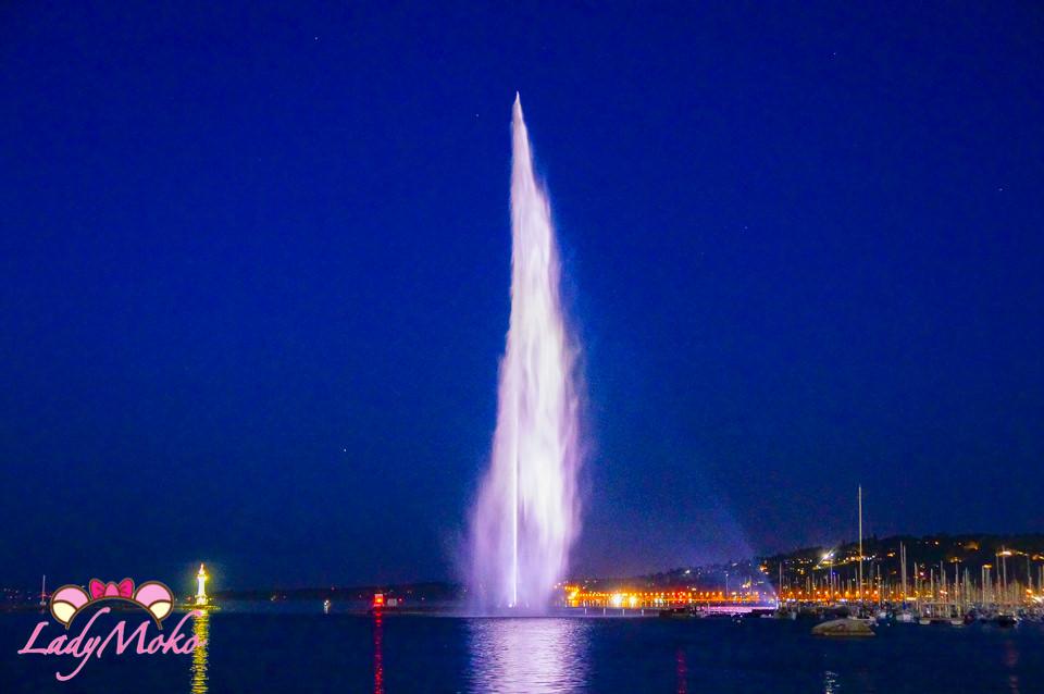 瑞士日內瓦景點》收藏藍天/晚霞/夜晚三大絕美大噴泉&萊芒湖景緻
