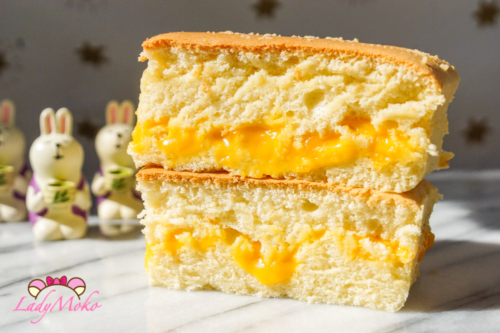 流心鹹蛋黃起司夾心古早味戚風蛋糕食譜,生鹹蛋黃處理方式同月餅蛋黃酥