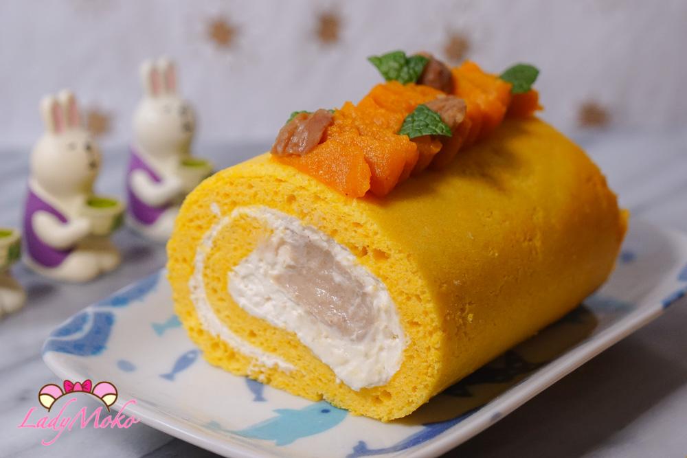南瓜戚風蛋糕捲w/蘭姆栗子夾心+奶油乳酪香緹內餡食譜|秋季甜點食譜Pumpkin Chiffon Rollcake