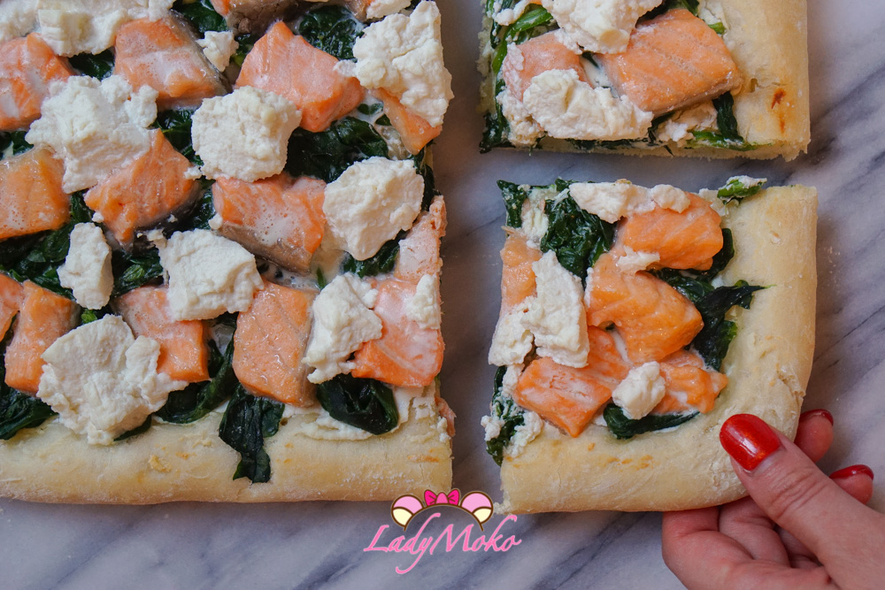 軟Q厚披薩食譜大推薦 鮭魚菠菜瑞可塔起司披薩食譜 Salmon Spinach Ricotta Cheese Pizza
