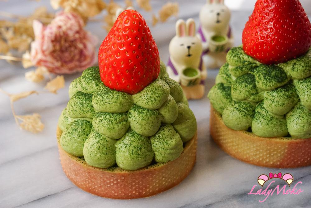 抹茶提拉米蘇草莓塔食譜|可擠花/無蛋提拉米蘇