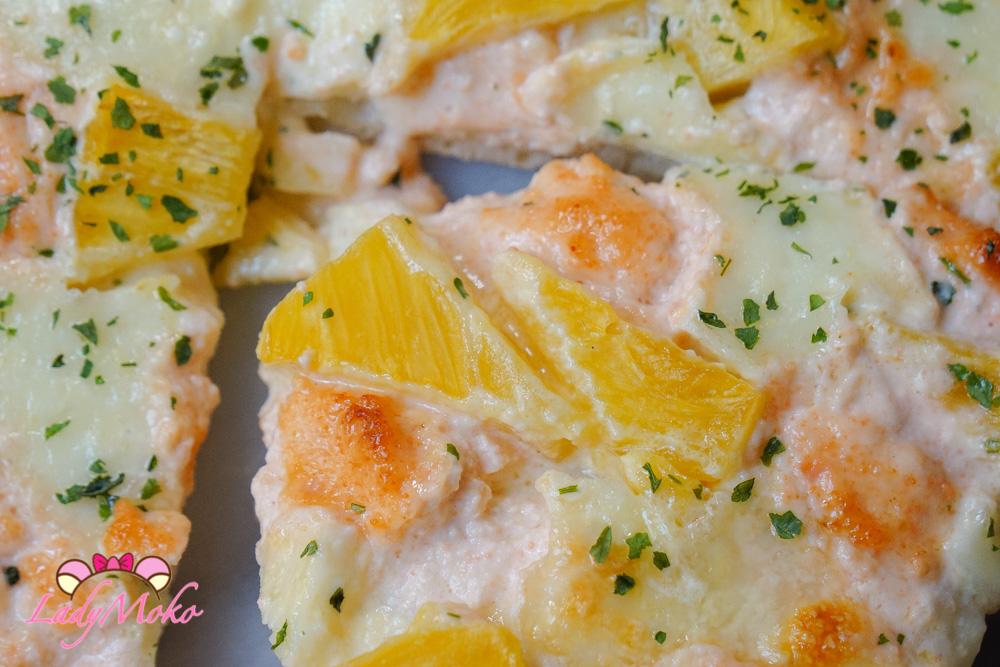 抱歉義大利!明太子鳳梨莫札瑞拉披薩食譜 厚軟Q披薩皮簡單食譜 Mentaiko Mozzarella Pineapple Pizza