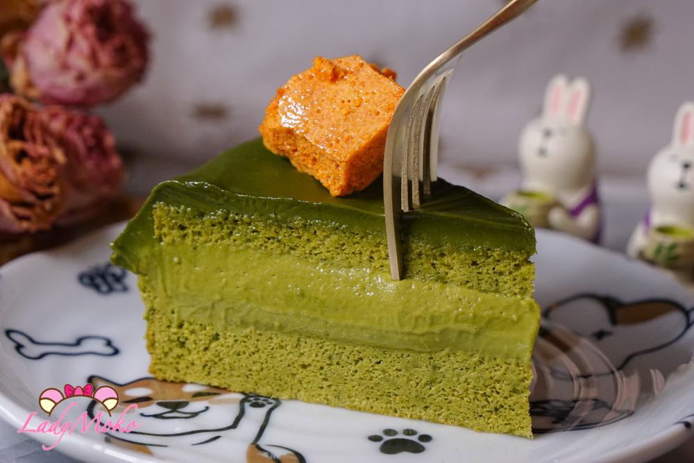 最濃抹茶蛋糕食譜|日本明治抹茶巧克力使用:法式抹茶巴巴露亞Bavaroise+抹茶生巧克力+抹茶戚風蛋糕+焦糖脆脆