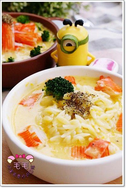 義式料理食譜 》蟹肉南瓜白醬小米麵/米型麵。純鮮奶白醬,健康好吃又營養♥小米麵超可愛♥