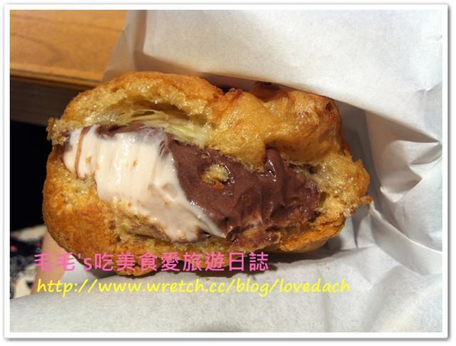 食記。Laetitia拉提莎日式手工泡芙甜點專賣店 》奢華雙餡泡芙 : 法若那巧克力+覆盆莓